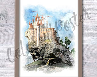 Snow White castle Disney princess watercolor illustration kids art painting fairy tales decor Disney decor Playroom wall art decoration V192