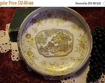 Summer Sun Sale Gold Imari Footed and Rolled Serving Bowl - Yellow Flowers and Cart, Hand Painted