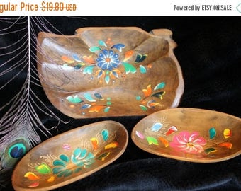 Christmas in July Hand Painted Wooden Bowl Set