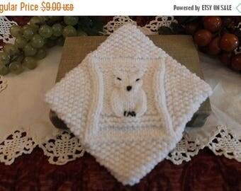 SALE Vintage White Crocheted Owl Pot Holder