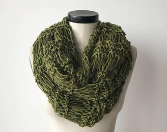 Cotton Infinity scarf - handmade knit