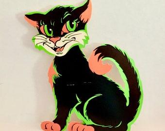 Vintage Beistle Black Cat, Die Cut Halloween Decoration, Stand Up Cardboard Cat, Scat Cat, 12 inch, Scary Cat, Black Green Orange, 1930s USA