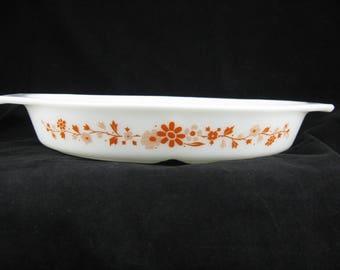Vintage Pyrex Floral 1960's Promotional Pattern 1 1/2 Qt. Divided Casserole Dish