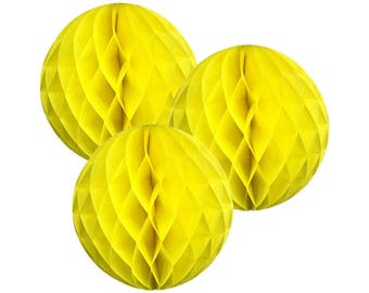 Just Artifacts Tissue Paper Honeycomb Ball (Set of 3, Lemon Yellow)