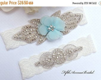 ON SALE Wedding Garter, Blue Flower Garter Set, Blue Wedding Garter, Lace Garter, Keepsake Garter, Toss Garter,  Garter- Style G34Ew