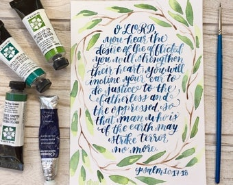 "LSC Refugee Services - 5"" x 7"" Psalm 10: 17-18 Original Watercolor"