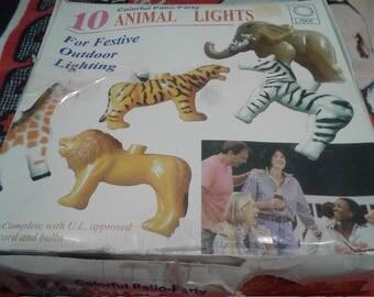 Vintage Plastic Zoo Animal Lights/Never Used/ With Box