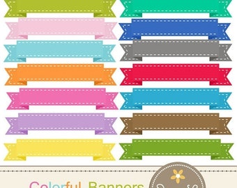 50% OFF Colorful Stitched Ribbon Banners clipart for digital Scrapbooking, Invitations and more