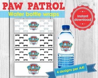 Paw Patrol water bottle wrap/label instant download printable, Paw Patrol Party theme