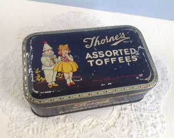 Vintage Thorne's Assorted Toffee Tin 1920's Halloween Costume Girl and Boy