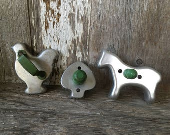 Set of Three Vintage Green Wood Handle Cookie Cutters
