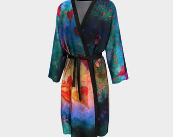 Her Heart Shines/Bathrobe Bridal Robe Luxury Peignoir Peachskin Jersey Chiffon Beach Coverup Wrap Loungewear Women Robes Gifts for her Wife