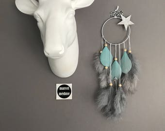 Mini Dream catcher, gray and mint with star