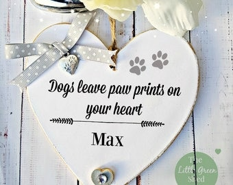 Dog Sign Paw prints Heart Personalised Keepsake Tibetan Silver paw prints Charm