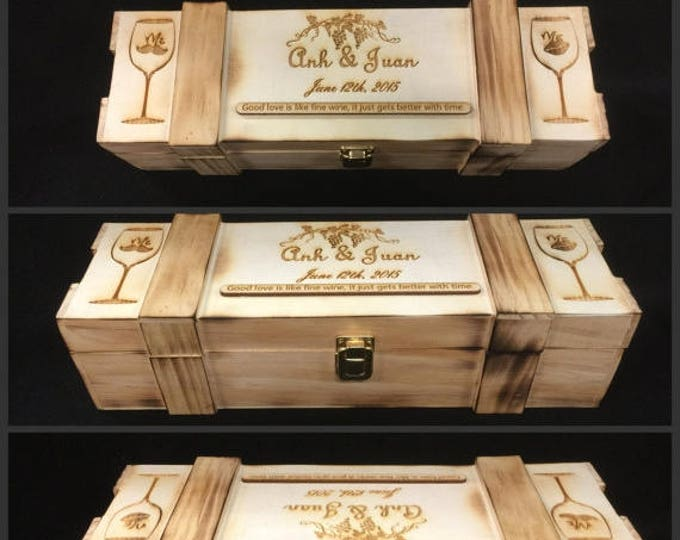 Rustic Wine Box, Custom Wedding Ceremony Box, Personalized Wine Champagne Display Case, Keepsake Box, Father's Day Gradutation Gift, W01
