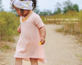 17 Summer Peach Stripe Knit Pull Over Dress  3, 6 ,9 ,12 ,18, 24months, 2yrs, 3yrs