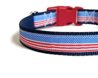 SALE! Ready-to-Ship Large Patriotic Red, White, and Blue American Flag Dog Collar (Martingale)