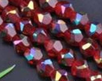 5 red faceted glass 8mm iridescent beads