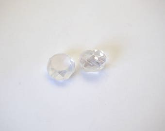 2 Pearl pucks faceted 12mm snow white Bohemian crystal