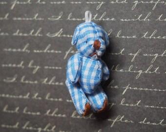 Mini Teddy bear soft cotton gingham 45x25mm