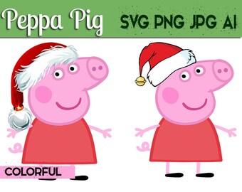 Peppa Pig Christmas Svg Colorful, Peppa Pig digital clipart,Peppa pig svg, George pig svg, Peppa svg,