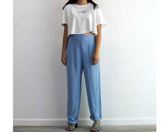 90s Sky Blue Silk Trousers / High Waisted Pants / Medium-Large