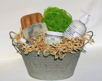 Spa gift basket etsy eucalyptus spearmint spa gift basket decorative metal planter handmade soap body lotion negle Image collections