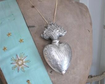 Antique large silver votive heart / ex voto