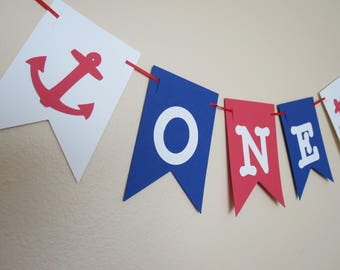 Anchor High Chair Banner - 1st Birthday Banner - Red, White, and Blue Banner - ONE Banner