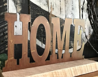 HOME sign, Metal Home sign, Farmhouse Mantle sign, Rustic Home Decor, Farmhouse style, Fixer Upper style, Rustic Decor, Rustic Signs