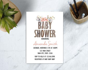 Country Baby Shower Invite, Wood Baby Shower Invite, Rustic Floral Baby Shower Invitation, Rustic Wood Baby Shower, Boho Baby Shower Invite