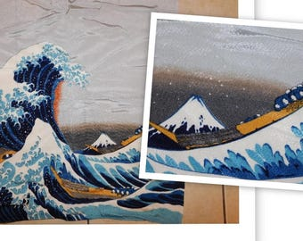 Vintage Japanese Art Scarf, Silk Scarf, Mount Fuji, Seascape, Ocean, Waves, Boats, Japan, Tsunami Wave