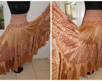 "Gypsy Circle Skirt, Boho Hippie, 300"" Sweep, Folk Skirt, Gypsy, Mexican Fiesta, Square Dance, Silk Full Sweep Patio Skirt 34"""
