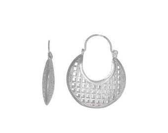 ON SALE Sterling Silver .925 Grid Design, Cut Out Squares Basket Earring (M) | Made in Usa