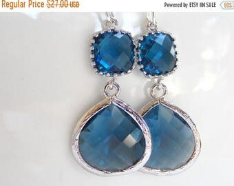 SALE Wedding Jewelry, Navy Blue Earrings, Silver, Dark blue, Blue, Montana Blue, Bridesmaid Gift, Bridesmaid Jewelry, Dangle, Drop, Gifts, G