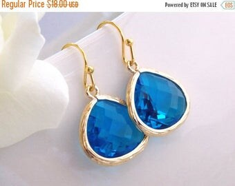 SALE Wedding Jewelry, Blue Sapphire, Gold Earrings, Capri, Royal Blue, Bridesmaid Jewelry, Bridesmaid Earrings,Drop, Dangle, Brides Gifts
