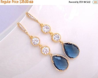 SALE Wedding Jewelry, Cubic Zirconia and Navy Blue, CZ and Montana Blue Earrings,Gold, Bridesmaids Jewelry,Wedding Gifts , Gifts,Drop,Dangle