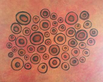 Orange Wall Decor, Orange Painting, Circle Painting, Circles, Geometric Art, Wall Art, Home Decor, Statement Piece, Orange Art, Gatherings