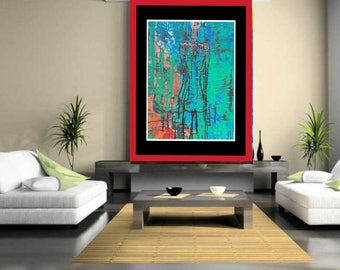 Lost in view - large original painting original abstract acrylic painting giclee print large wall art blue wall art modern art abstract art