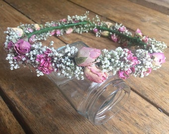 Pink Floral Crown.  Flower Garland, Wedding Hair Piece, Bride, Bridesmaid, Flowergirl, Halo, Circlet, Comb, Vintage