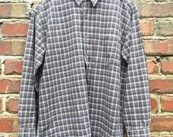 ON SALE Vintage Check Shirt Men's Size Medium Brown and Blue Colour