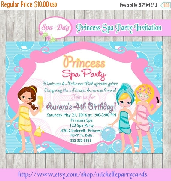 Frozen spa party – Little Girl Spa Party Invitations
