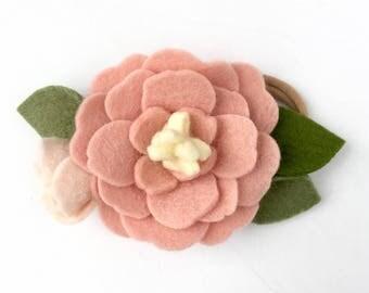 Girl's Felt flower headband - Pink and Blush - girls flower headband - Sandy Pink