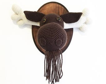 Modest Moose Head- Crochet Taxidermy