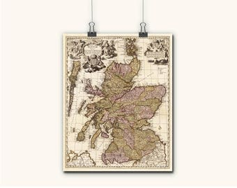 Old Map Of The Scotland Prints  Wall Art Canvas Scottish Maps Historical Scottish Print Maps Ancient Map Of Scotland Canvas Art
