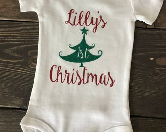 First Christmas Baby. Baby's first Christmas. Baby girl. baby shower gift. First Christmas. Christmas tree baby.