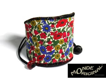 Liberty fabric Petal & bud mustard leather Cuff Bracelet