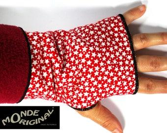 Fingerless gloves red reversible fabric stars cotton fleece