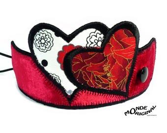 Hearts made of Japanese fabrics, silk velvet and black leather bracelet