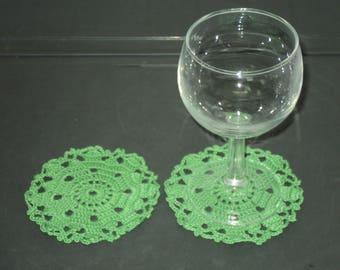 SET of 6 DOILIES or coasters handmade crochet Green